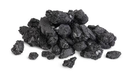 particles of charcoal isolated on white background with clipping path and full depth of field
