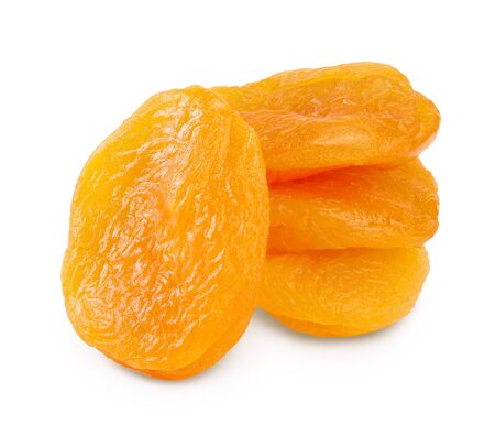Dried apricots isolated on white background with clipping path and full depth of field.