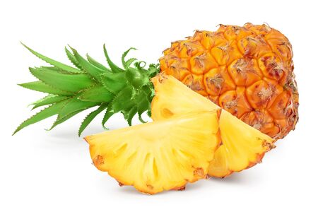 pineapple and slices isolated on white background with full depth of field.