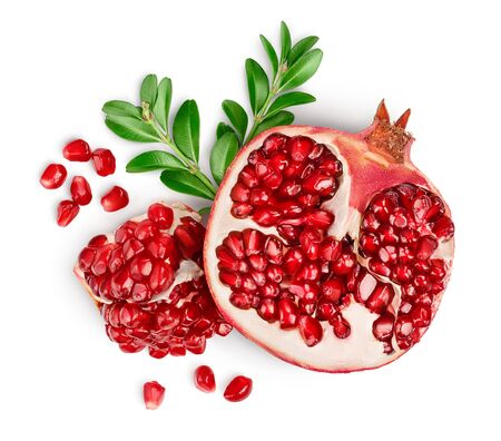 Pomegranate isolated on white background. Top view. Flat lay