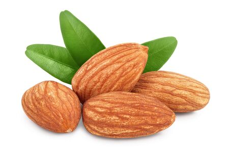Almonds nuts with leaves isolated on white background with clipping path and full depth of field.