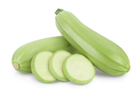 zucchini or marrow isolated on white background with clipping path and full depth of field Imagens