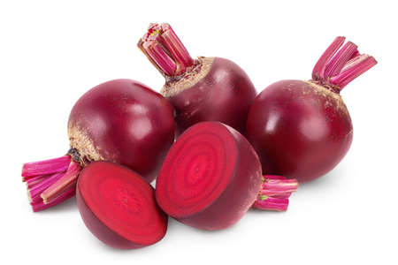 beetroot with half and slice isolated on white background