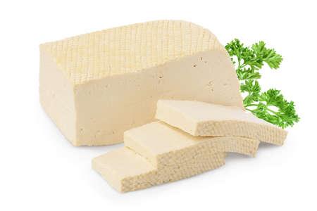 tofu cheese isolated on white background Stok Fotoğraf