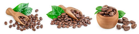 Heap of roasted coffee beans with leaves isolated on white background . Set or collection Фото со стока