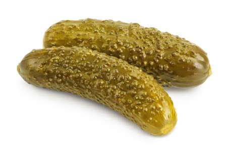 Marinated pickled cucumber isolated on white background Stockfoto