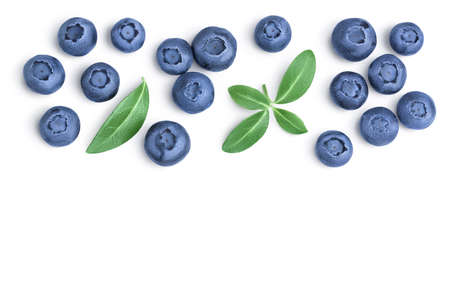 fresh ripe blueberry with leaves isolated on white background Zdjęcie Seryjne