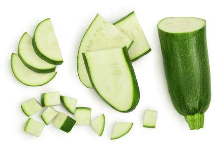 Fresh sliced zucchini isolated on white background Фото со стока