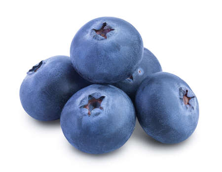 fresh blueberry isolated on white background closeup with clipping path and full depth of field