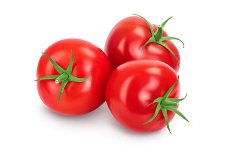 Tomato isolated on white background with clipping path and full depth of field. Stockfoto