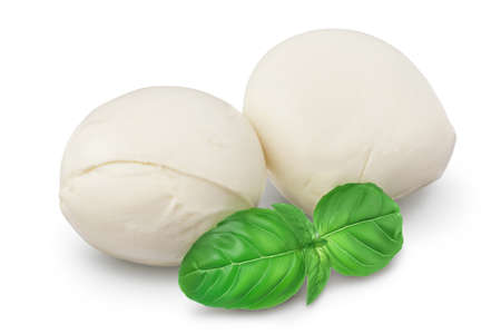 Mozzarella cheese with basil leaf isolated on white background with clipping path and full depth of field
