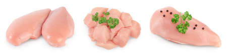 Fresh chicken fillet isolated on white background with full depth of field. Set or collection