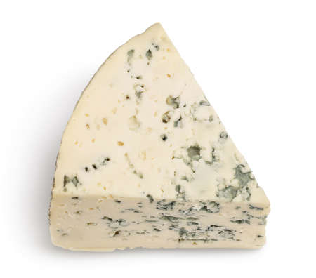 Blue cheese isolated on white background with clipping path and full depth of field. Top view. Flat lay.