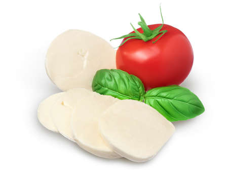 Mozzarella cheese sliced with basil leaf and tomato isolated on white background with clipping path and full depth of field