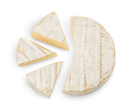 Camembert cheese isolated on white background with clipping path and full depth of field. Top view. Flat lay