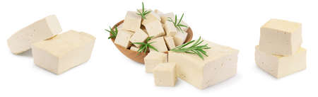 tofu cheese isolated on white background with clipping path and full depth of field, Set or collection Standard-Bild