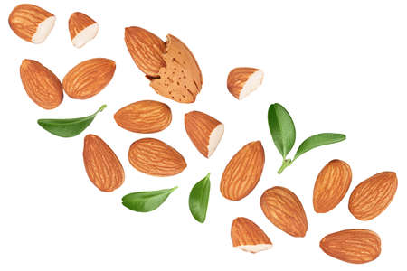 Almonds nuts isolated on white background Top view. Flat lay. Stok Fotoğraf