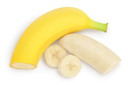banana isolated on white background with   full depth of field. Top view. Flat lay. Standard-Bild