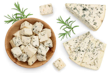 Blue cheese slices with rosemary isolated on white background   . Top view with copy space for your text . Flat lay.