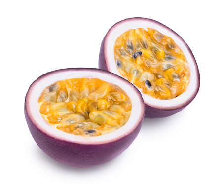 passion fruits half isolated on white background. maracuya and full depth of field