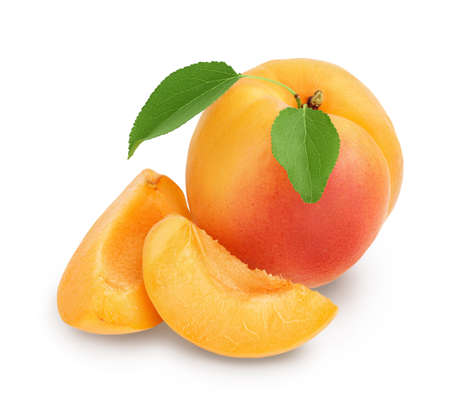 apricot fruit with slices isolated on white background.  full depth of field