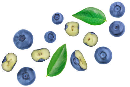 fresh ripe blueberry isolated on white background. . Top view. Flat lay pattern Standard-Bild