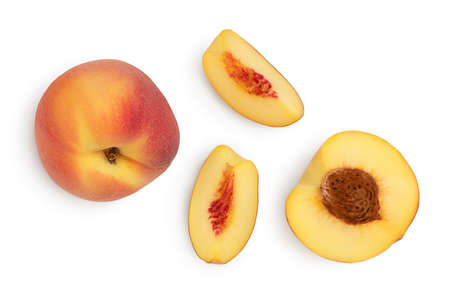 ripe peach isolated on white background   Top view. Flat lay pattern Standard-Bild