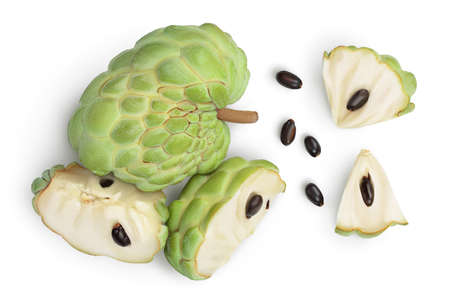 Sugar apple or custard apple isolated on white background  . Exotic tropical Thai annona or cherimoya fruit. Top view. Flat lay
