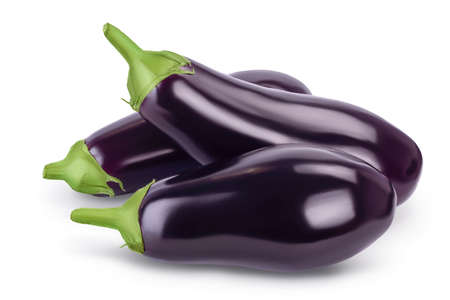 Eggplant or aubergine isolated on white background with  full depth of field
