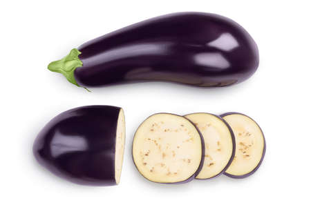 Eggplant or aubergine with slices isolated on white background.  full depth of field. top, view, flat lay