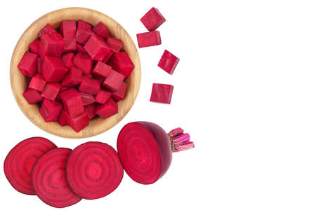 beetroot slices isolated on white . Top view with copy space for your text. Flat lay