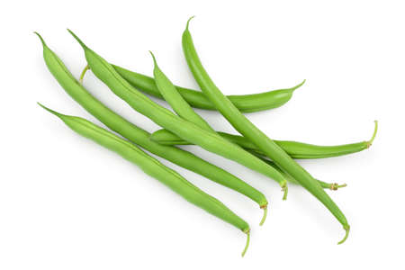 Green beans isolated on a white background with  full depth of field, Top view. Flat lay