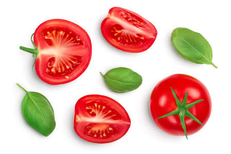Tomato slices with basil leaf isolated on white background.   Top view with copy space for your text. Flat lay