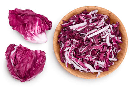 Fresh red radicchio salad in wooden bowl isolated on white background with full depth of field. Top view. Flat lay Standard-Bild