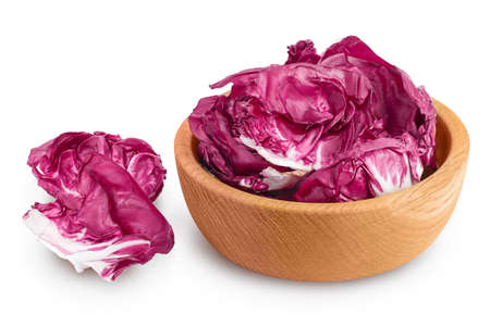 Fresh red radicchio salad in wooden bowl isolated on white background with   full depth of field