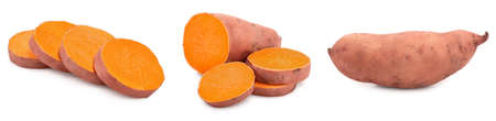 Sweet potato isolated on white background closeup, Set or collection