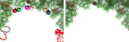 Christmas frame decorated isolated on white background with copy space for your text. Top view. Standard-Bild