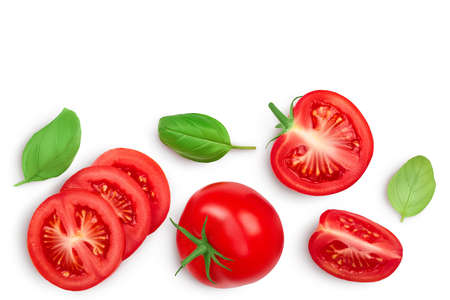 Tomato slices with basil isolated on white background. Clipping path. Top view with copy space for your text. Flat lay Stockfoto