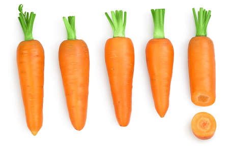 Carrot isolated on white background with clipping path and full depth of field. Top view. Flat lay