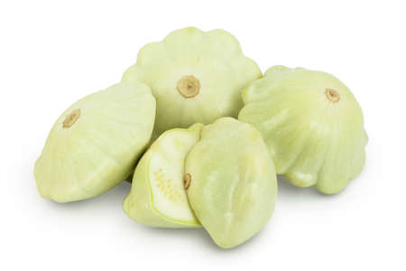 green patty pan squash isolated on white background