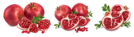 Pomegranate with leaf isolated on white background