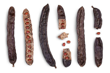 Ripe carob pods and bean isolated on white background with clipping path and full depth of field. Top view. Flat lay. Set or collection 版權商用圖片
