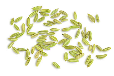 Dried fennel seeds isolated on white background . Top view. Flat lay Zdjęcie Seryjne