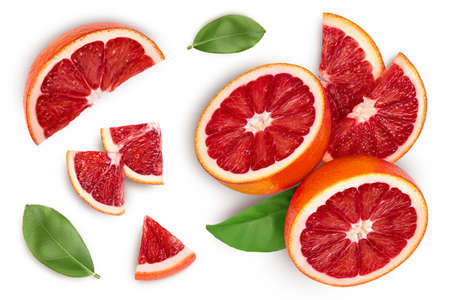 Blood red oranges isolated on white background. Top view. Flat lay