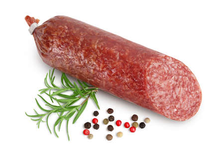 Smoked sausage salami with slices isolated on white background
