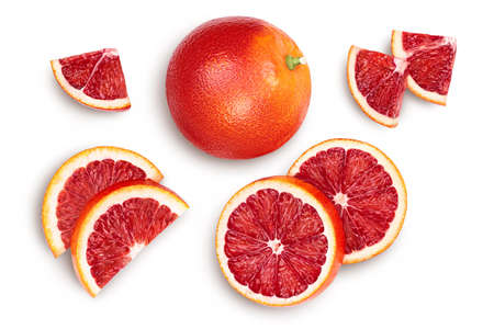 Blood red oranges isolated on white background Banque d'images