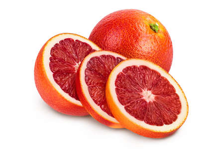 Blood red oranges with slices isolated on white background Banque d'images