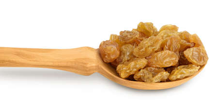 Yellow raisins in wooden spoon isolated on white background