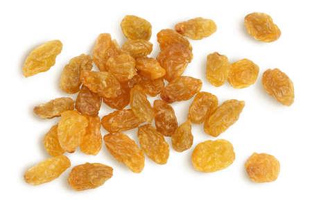 Yellow raisin isolated on white background