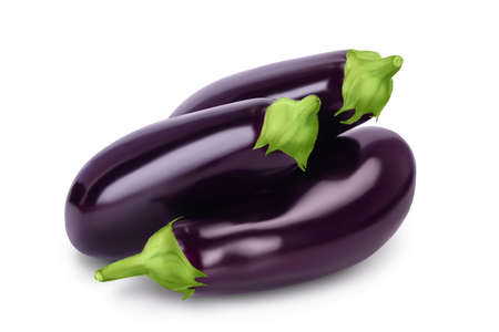 Eggplant or aubergine isolated on white background with and full depth of field Banque d'images